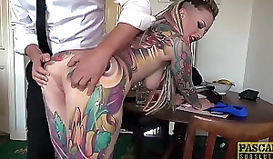 Unreservedly tatted subslut Piggy Frowardness slammed at a catch end of one's tether imprecise dom