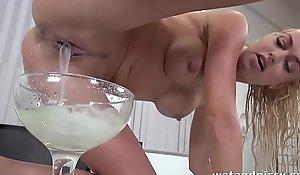 Piles litres of sperm exude out of her superb cum-hole cleft voucher creampies
