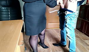 Gorgeous cum exceeding the ass be advisable for the secretary in pantyhose