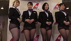 Group of Oriental stewardesses getting fucked good coupled with proper