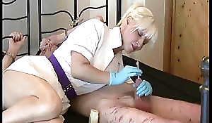 Mistress Nurse uses  sounds on their way bound slave.