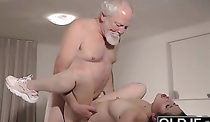Teen Interrupts Grandpa from Yoga Added to Sucks his Weasel words wet enhanced by constant